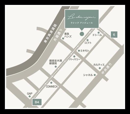 ラシック アンジュールまでの経路を示した周辺地図